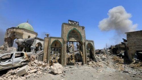 Etat actuel de la mosquée al-Nuri depuis sa destruction en 2017, Mossoul