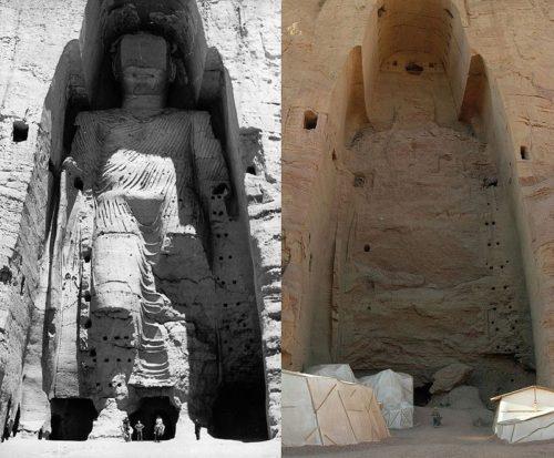 La statue du grand Bouddha avant et après sa destruction en mars 2001. CC BY-SA 3.0